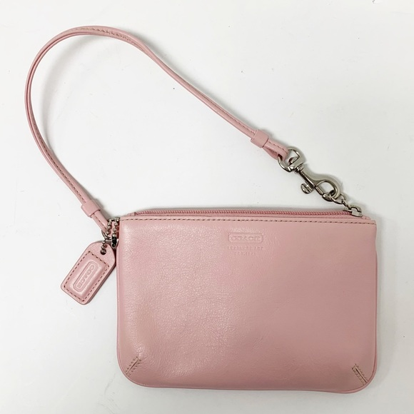 Coach Pink Pebbled Leather Wristlet